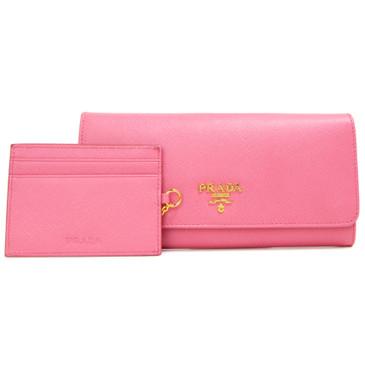 Prada Pink Saffiano Continental Flap Wallet