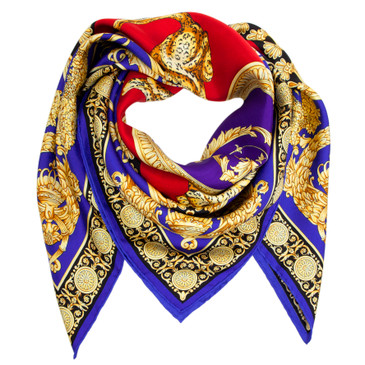 Versace Silk Baroque and Leopard Scarf