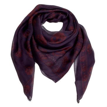 Alexander McQueen Purple/Burgundy Silk Skull Scarf
