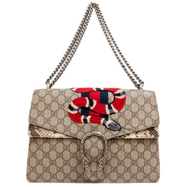 Gucci GG Supreme & Python Medium Dionysus Shoulder Bag