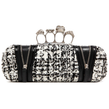 Alexander McQueen Tweed Skull Knuckle Box Clutch