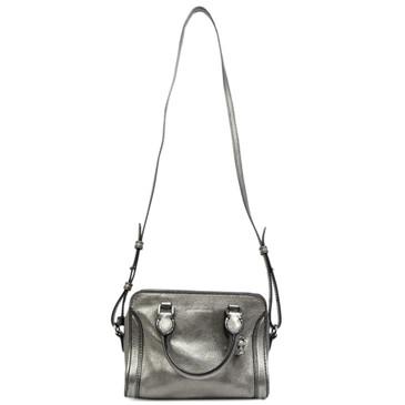 Alexander McQueen Silver Pebbled Calfskin Mini Padlock Bag