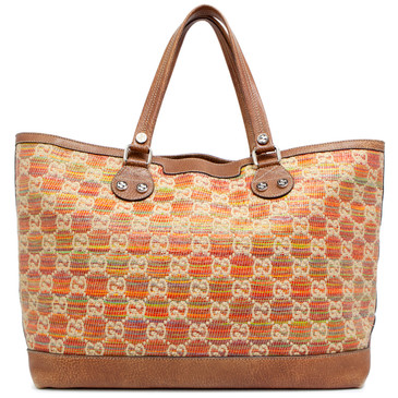 Gucci Multicolor Straw Libeccio Monogram Large Sunset Tote