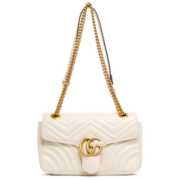 Gucci White GG Marmont Matelasse Small Shoulder Bag
