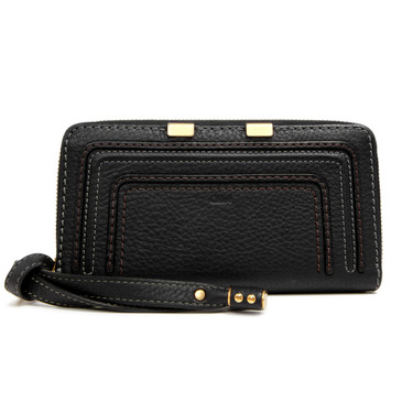 Chloe Black Calfskin Marcie Zip Around Wallet