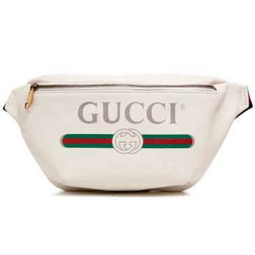 Gucci Print White Calfskin Belt Bag