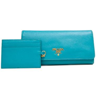 Prada Teal Saffiano Continental Flap  Wallet