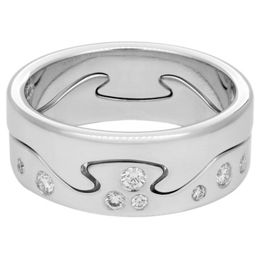 Georg Jensen 18K White Gold & Diamond Fusion 2piece Ring