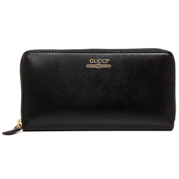Gucci Black Smooth Calfskin Zip Around Logo Wallet