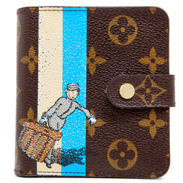 Louis Vuitton Blue Monogram Groom Compact Zippy Wallet