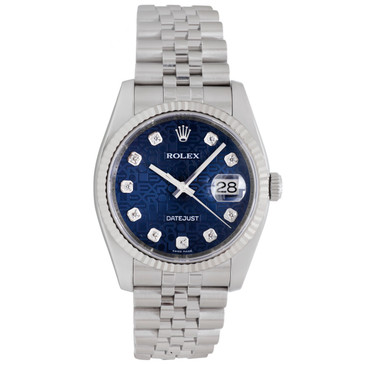 Rolex Stainless Steel Diamond Dial 36mm Datejust 116234