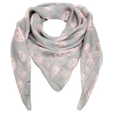 Alexander McQueen Grey/Pink Silk Skull Scarf