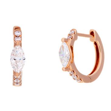 Anita Ko 18K Rose Gold Marquis Diamond Huggies