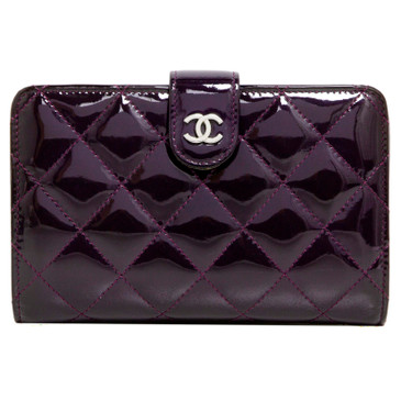 Chanel Purple Patent Leather French Purse Wallet