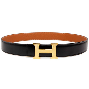 Hermes Black/Gold Box/Togo Guillochee 'H' 32mm Reversible Belt