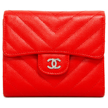 Chanel Red Caviar Chevron Compact Flap Wallet
