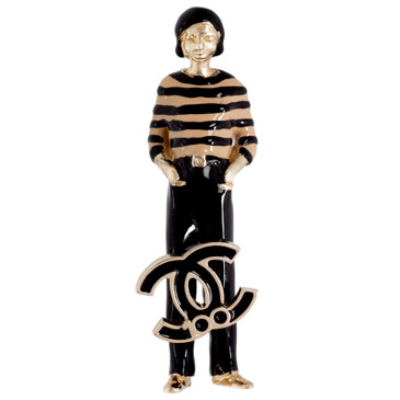 Chanel Coco Chanel Enamel Figurine Brooch
