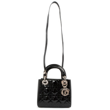 Christian Dior Black Cannage Patent Mini Lady Dior