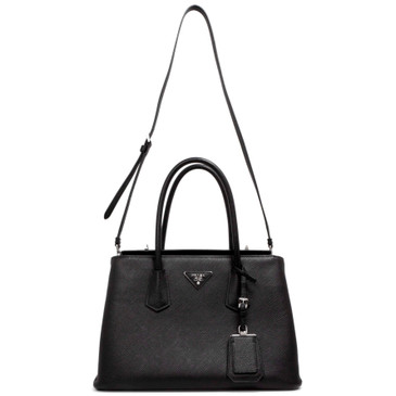 Prada Black Saffiano Cuir Medium Twin Tote