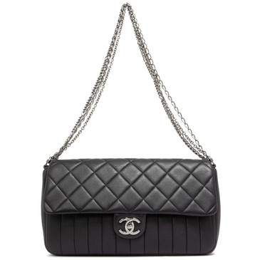 Chanel Black Quilted Calfskin Multi Chain Flap  Bag
