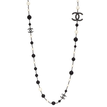 Chanel Pearl & Black Bead 'CC' Long Necklace