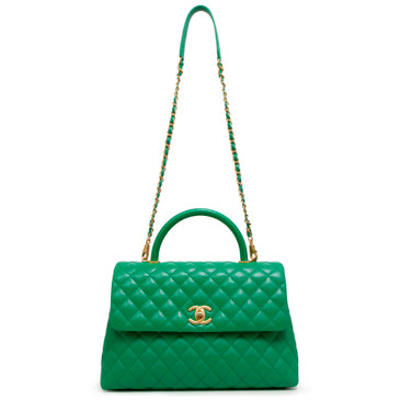 Chanel Green Caviar Lizard Embossed Handle Quilted Medium Coco Handle