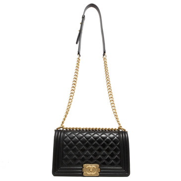 Chanel Black Quilted Lambskin Medium Boy  Bag