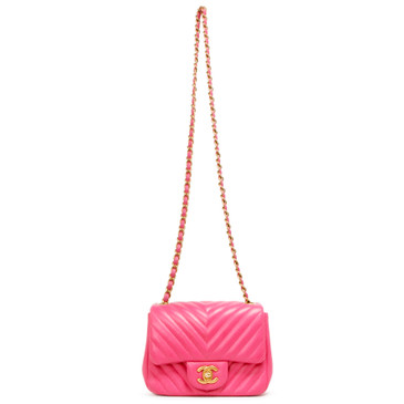 Chanel Pink Chevron Lambskin Mini Square Flap