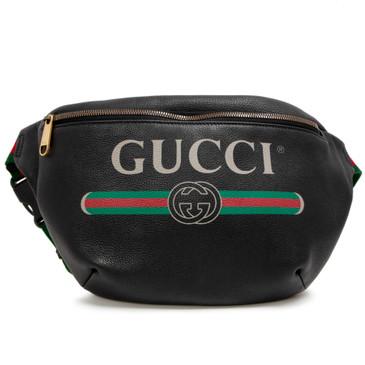Gucci Print Black Calfskin Belt Bag
