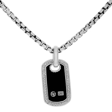 David Yurman Sterling Silver, Diamond & Onyx Dog Tag Pendant