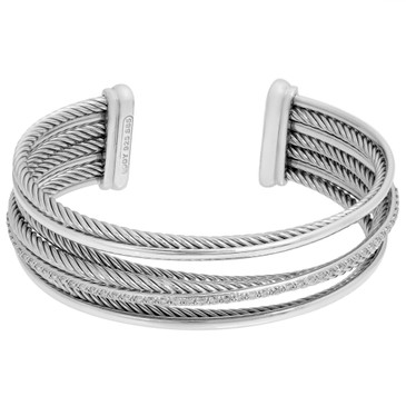 David Yurman Sterling Silver, 14K White Gold & Diamond Crossover Four-Row Cuff