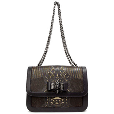Christian Louboutin Black Calfskin Small Sparkle Laser Cut Sweet Charity Shoulder Bag