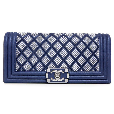 Chanel Blue Iridescent Suede Studded Boy Clutch