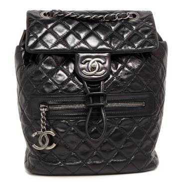 Chanel Black Glazed Calfskin Small Salzburg Mountain Backpack