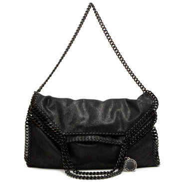 Stella McCartney Black Shaggy Deer Falabella Fold Over  Tote