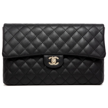 Chanel Black Quilted Caviar Classic Flap Clutch