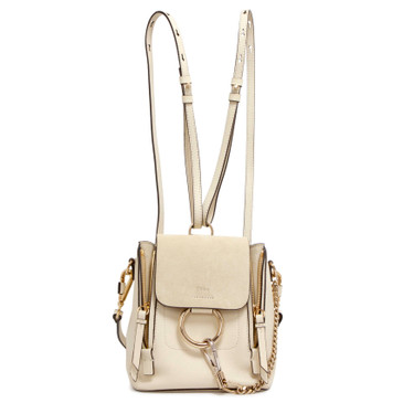Chloe Off White Calfskin/Suede Mini Faye Backpack