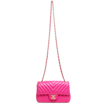 Chanel Pink Chevron  Quilted Lambskin Mini Rectangular Flap