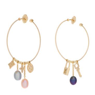 Louis Vuitton 18K Yellow Gold & Pearl Monogram Hoop Earrings