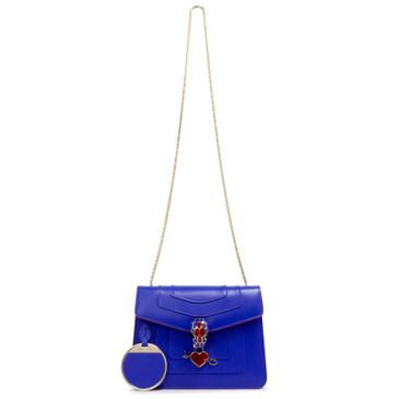 Bvlgari Blue Calfskin Electro Love Small Serpenti Forever Flap Bag