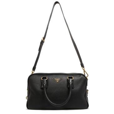 Prada Black Vitello Daino Convertible Top Handle Bag