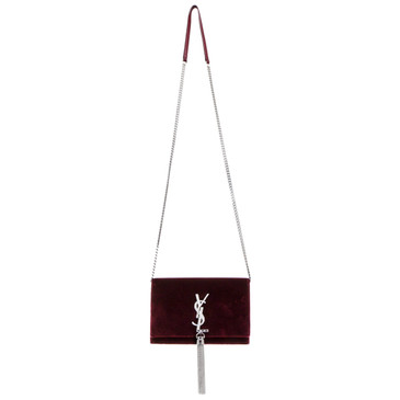 Saint Laurent Burgundy Velvet & Crystal Kate Chain Tassel Wallet