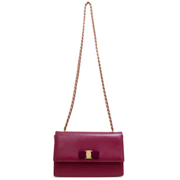 Salvatore Ferragamo Burgundy Ginny Shoulder Bag