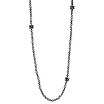 Chanel Dark Grey Pearl Camellia Necklace