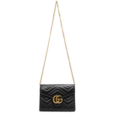 Gucci Black Calfskin GG Marmont Chain Wallet