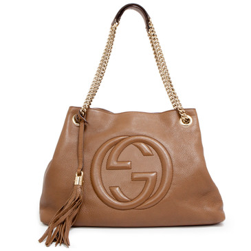 Gucci Brown Pebbled Calfskin Medium Soho Chain Shoulder Bag