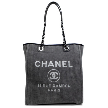 Chanel Grey Canvas Small Deauville Tote