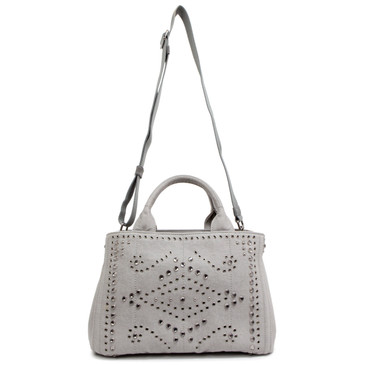 Prada Grey Denim Studded Tote
