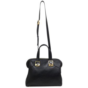 Fendi Black Grained Calfskin Small Chameleon Tote