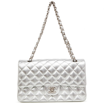 Chanel Metallic Silver Lambskin Medium Classic Double Flap